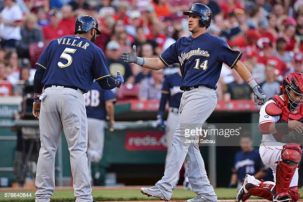 Hernan Perez of the Milwaukee Brewers celebrates at home plate with Jonathan Villar of the Milwaukee Brewers after hitting a tworun home run in the...