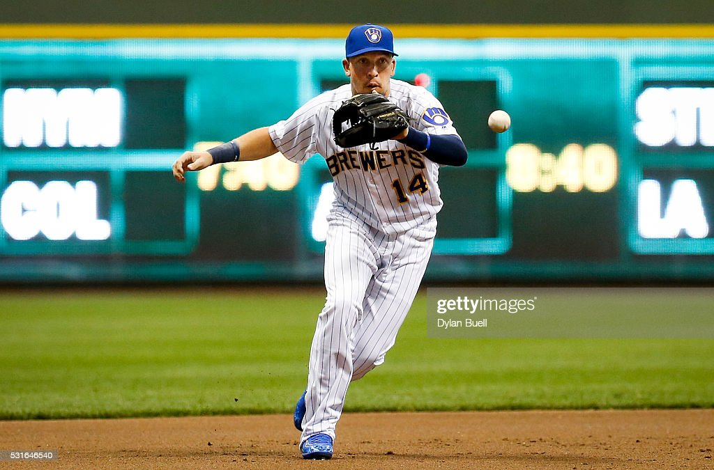 Hernan Perez of the Milwaukee Brewers fields a ground ball against the San Diego Padres at Miller Park on May 13 2016 in Milwaukee Wisconsin