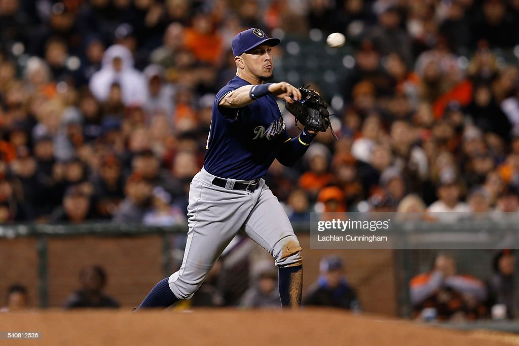 Hernan Perez of the Milwaukee Brewers fields the ball at third base in the seventh inning at ATT Park on June 14 2016 in San Francisco California