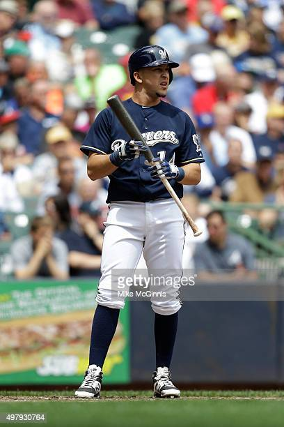 Hernan Perez of the Milwaukee Brewers gets ready for the next pitch during the game against the Atlanta Braves at Miller Park on July 08 2015 in...
