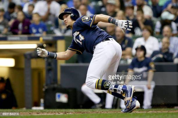 Hernan Perez of the Milwaukee Brewers hits a double in the seventh inning against the San Francisco Giants at Miller Park on June 5 2017 in Milwaukee...