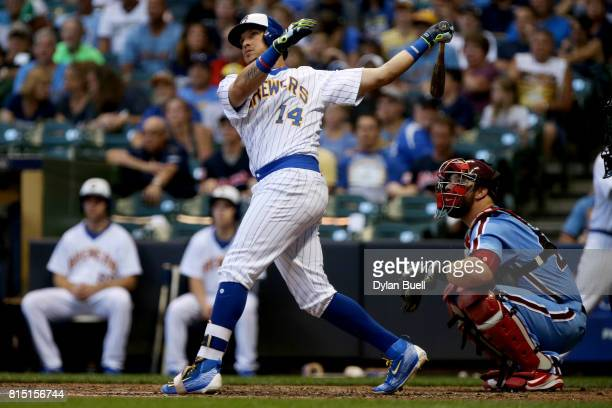 Hernan Perez of the Milwaukee Brewers hits a home run in the sixth inning against the Philadelphia Phillies at Miller Park on July 15 2017 in...