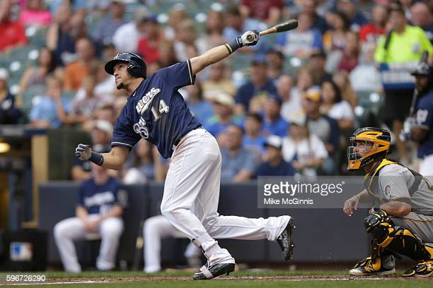 Hernan Perez of the Milwaukee Brewers hits a three run homer during the first inning against the Pittsburgh Pirates at Miller Park on August 27 2016...