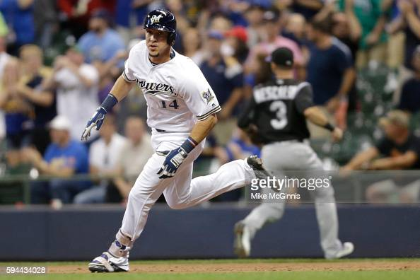 Hernan Perez of the Milwaukee Brewers hits a two RBI triple during the seventh inning against the Colorado Rockies at Miller Park on August 23 2016...