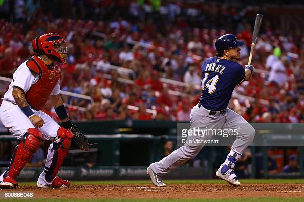 Hernan Perez of the Milwaukee Brewers hits an RBI double against the St Louis Cardinals in the third inning at Busch Stadium on September 8 2016 in...