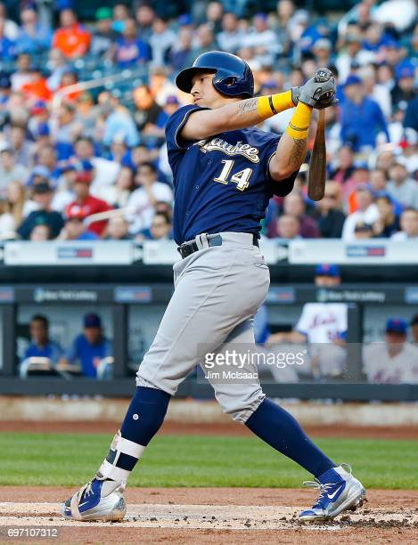 Hernan Perez of the Milwaukee Brewers in action against the New York Mets at Citi Field on May 31 2017 in the Flushing neighborhood of the Queens...