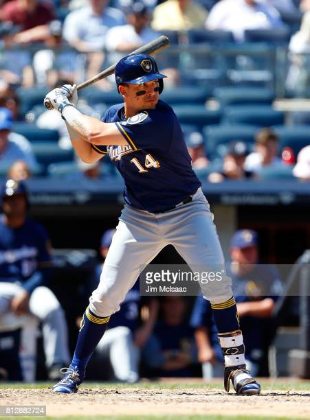 Hernan Perez of the Milwaukee Brewers in action against the New York Yankees at Yankee Stadium on July 9 2017 in the Bronx borough of New York City...