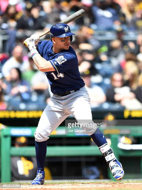 Hernan Perez of the Milwaukee Brewers in action during the game against the Pittsburgh Pirates at PNC Park on May 7 2017 in Pittsburgh Pennsylvania