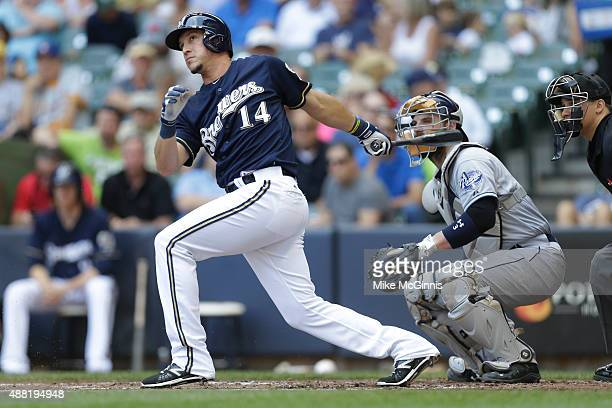 Hernan Perez of the Milwaukee Brewers makes some contact at the plate during the game against the San Diego Padres at Miller Park on August 06 2015...