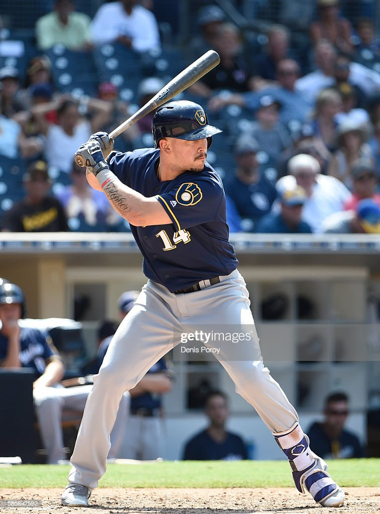 Hernan Perez of the Milwaukee Brewers plays during a baseball game against the San Diego Padres at PETCO Park on August 3 2016 in San Diego California