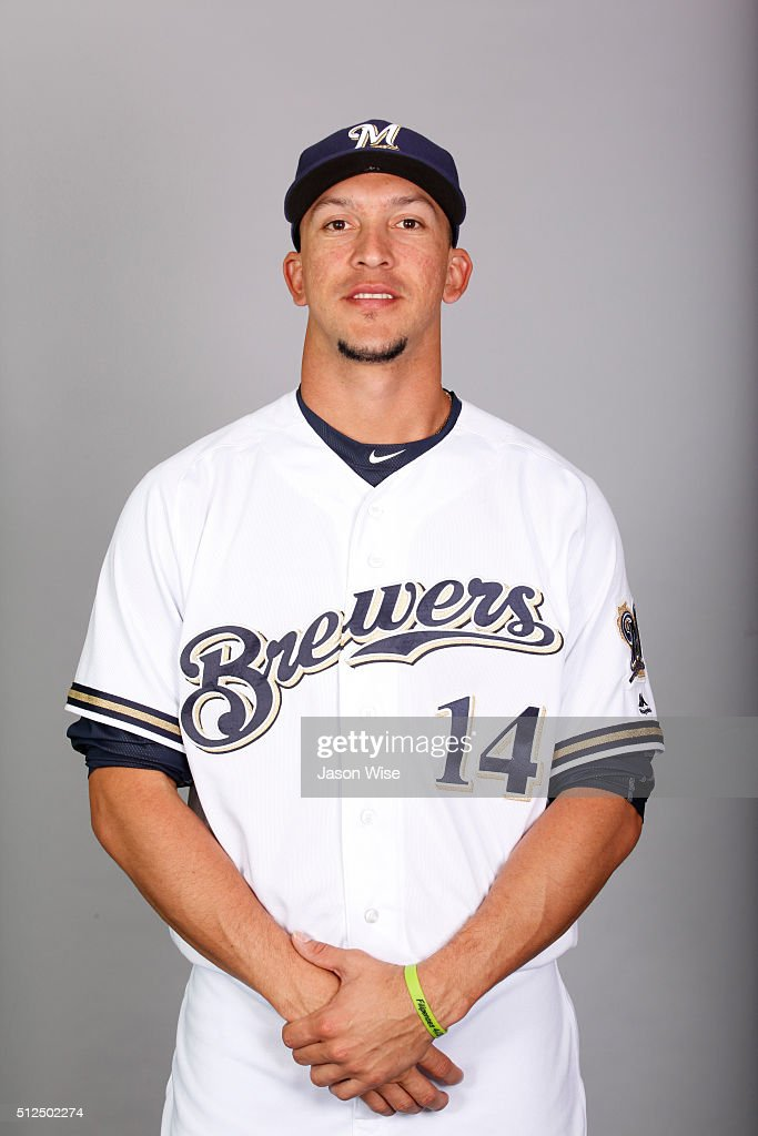 Hernan Perez #14 of the Milwaukee Brewers poses during Photo Day on Friday, February 26, 2016 at Maryvale Baseball Park in Phoenix, Arizona.