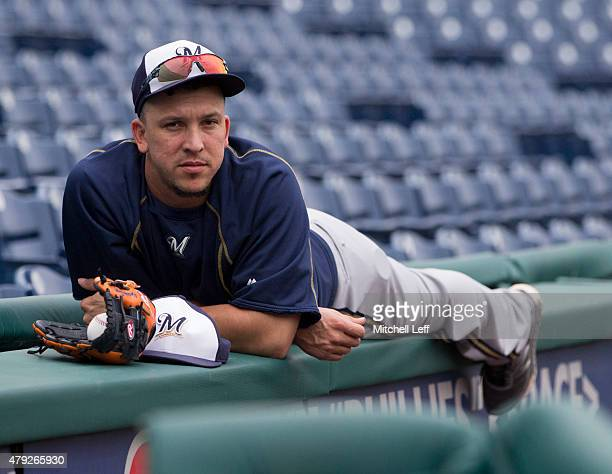 Hernan Perez of the Milwaukee Brewers relaxes prior to the game against the Philadelphia Phillies on July 2 2015 at the Citizens Bank Park in...