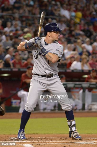 Hernan Perez of the Milwaukee Brewers stands at bat in the first inning of the MLB game against the Arizona Diamondbacks at Chase Field on June 11...