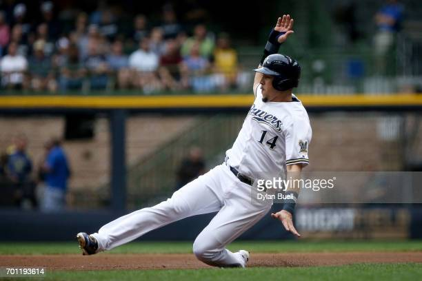 Hernan Perez of the Milwaukee Brewers steals second base in the first inning against the Pittsburgh Pirates at Miller Park on June 22 2017 in...