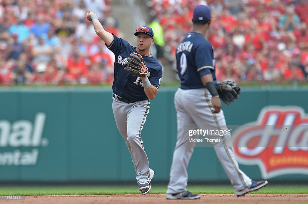 Hernan Perez of the Milwaukee Brewers throws against the St Louis Cardinals at Busch Stadium on June 3 2015 in St Louis Missouri