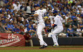 Hernan Perez of the Milwaukee Brewers throws to first base in the fifth inning against the Chicago Cubs at Miller Park on July 22 2016 in Milwaukee...