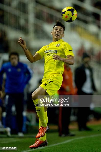 Hernan Perez of Villarreal CF heads the ball during the La Liga match between Rayo Vallecano de Madrid and Villarreal CF at Estadio de Vallecas on...