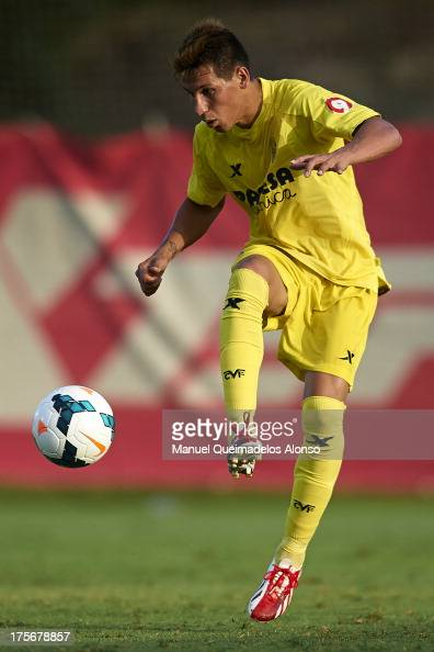 Hernan Perez of Villarreal controls the ball during a friendly match between Villarreal CF and Granada FC at La Manga Club on August 03 2013 in La...