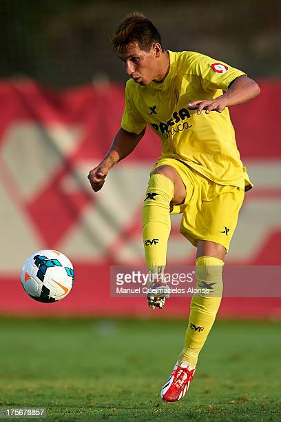 Hernan Perez of Villarreal controls the ball during a friendly match between Villarreal CF and Granada FC at La Manga Club on August 03 2013 in La...