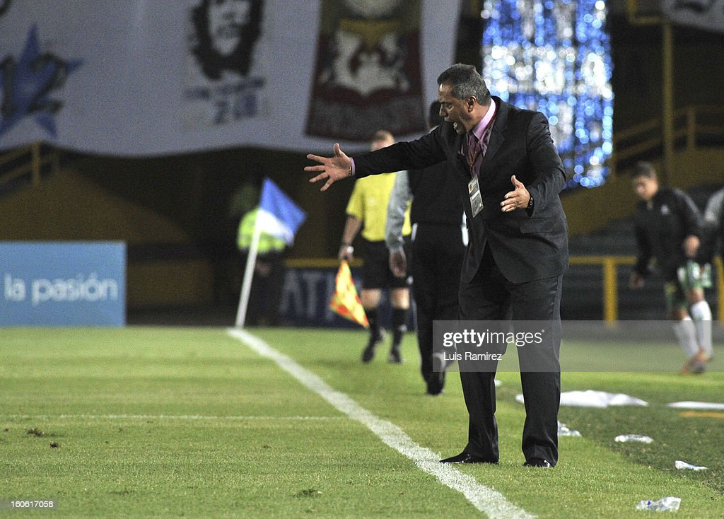 Hernan Torres, coach of Millonarios reacts during a match between Millonarios and Equidad as part of the Liga Postobon 2013 at Nemesio Camacho Stadium on February 03, 2013 in Bogota, Colombia.