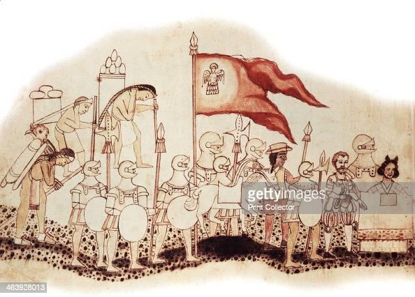 Hernandez Cortes Spanish conquistador 16th century Cortes arriving in Mexico followed by his black servant and preceeded by La Malinche his...