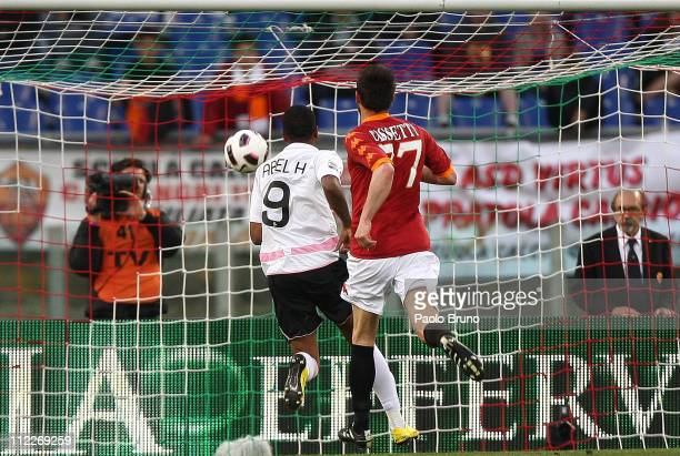Hernandez of US Citta di Palermo scores the second goal during the Serie A match between AS Roma and US Citta di Palermo at Stadio Olimpico on April...