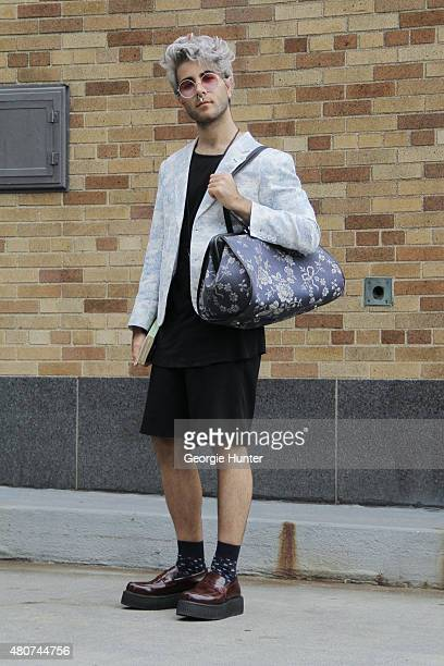 Hernandez seen at Skylight Clarkson Sq after the Timo Weiland show wearing Alexander Wang shorts and tank top Vivienne Westwood bag Underground shoes...