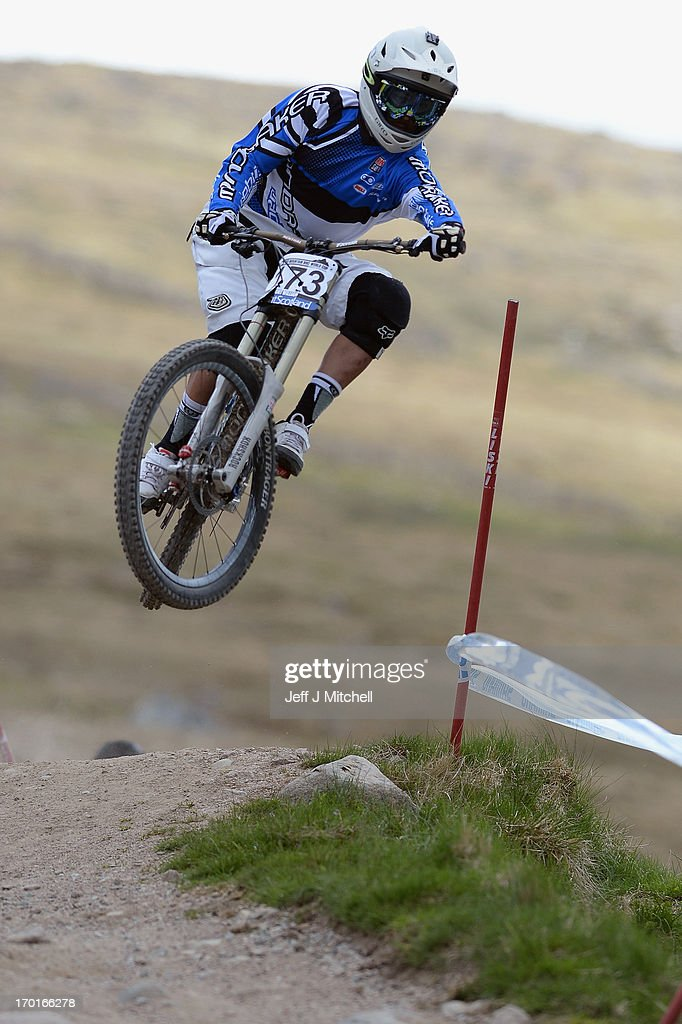 Hernandez Vargas of Spain competes in the men's downhill qualifying round at the UCI Mountain Bike World Cup on June 8, 2013 in Fort William, Scotland.