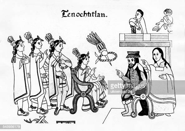 Hernando Cortez Hernando Cortez *14851547 Conquistador discoverer of Mexico Spain Encounter between the King of the Aztecs Montezuma and Cortez in...