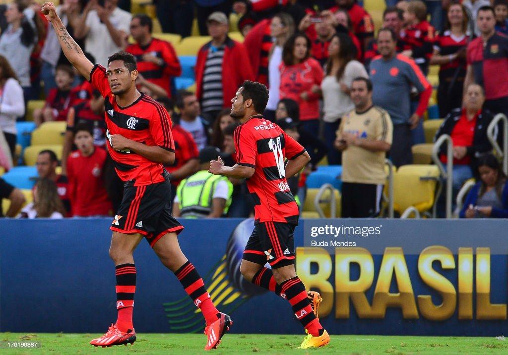 Hernane of Flamengo celebrates a scored goal against Fluminense during a match between Fluminense and Flamengo as part of Brazilian Championship 2013...