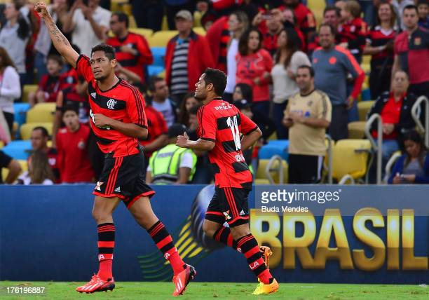 Hernane of Flamengo celebrates a scored goal against Fluminense during a match between Fluminense and Flamengo as part of Brazilian Championship 2013...