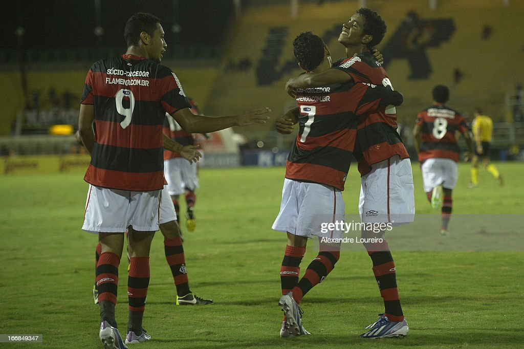 Hernane (#9), Rafinha (#7) and Gabriel of Flamengo celebrates a goal during the match between Flamengo and Remo as part of Brazil Cup 2013 at Raulino de Oliveira Stadium on April 17, 2013 in Rio de Janeiro, Brazil.