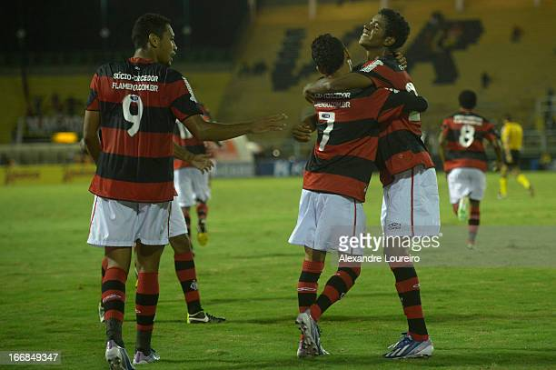Hernane Rafinha and Gabriel of Flamengo celebrates a goal during the match between Flamengo and Remo as part of Brazil Cup 2013 at Raulino de...