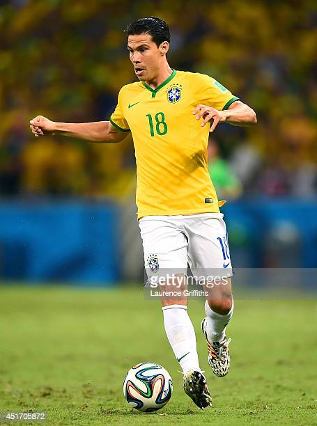 Hernanes of Brazil controls the ball during the 2014 FIFA World Cup Brazil Quarter Final match between Brazil and Colombia at Castelao on July 4 2014...