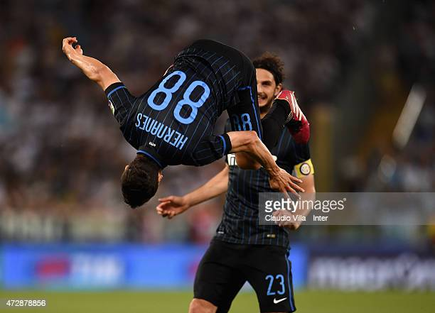 Hernanes of FC Internazionale celebrates after scoring the opening goal during the Serie A match between SS Lazio and FC Internazionale Milano at...