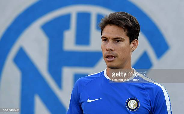 Hernanes of FC Internazionale looks on during a training session at the club's training ground at Appiano Gentile on August 29 2015 in Como Italy
