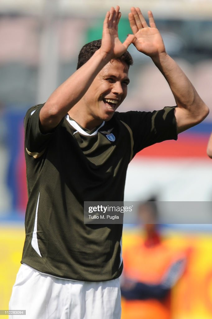 Hernanes of Lazio celebrates after scoring the opening goal of the Serie A match between Catania Calcio and SS Lazio at Stadio Angelo Massimino on...