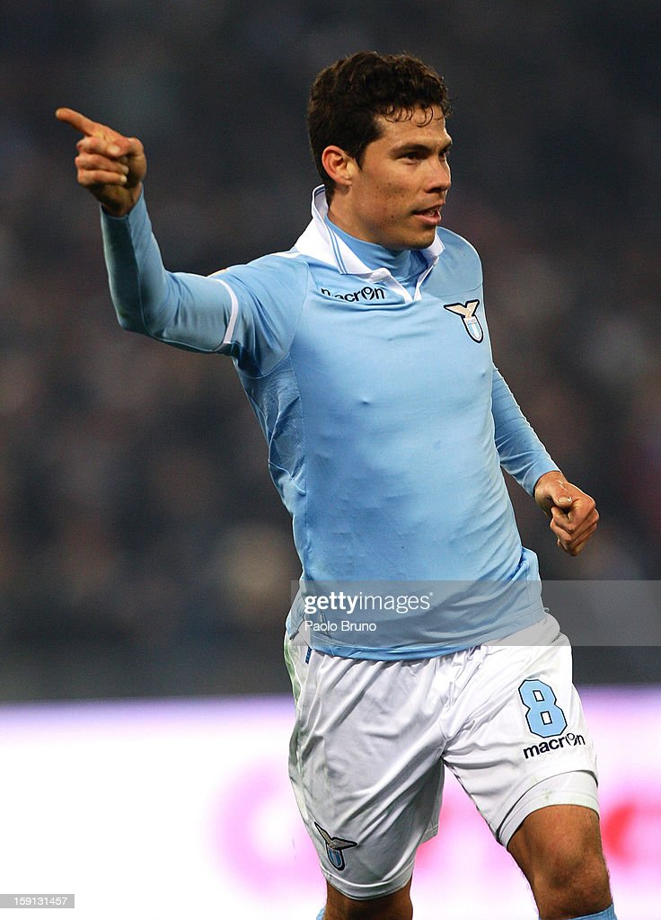 Hernanes of S.S. Lazio celebrates after scoring his team's second goal during the TIM Cup match between S.S. Lazio and Calcio Catania at Stadio Olimpico on January 8, 2013 in Rome, Italy.