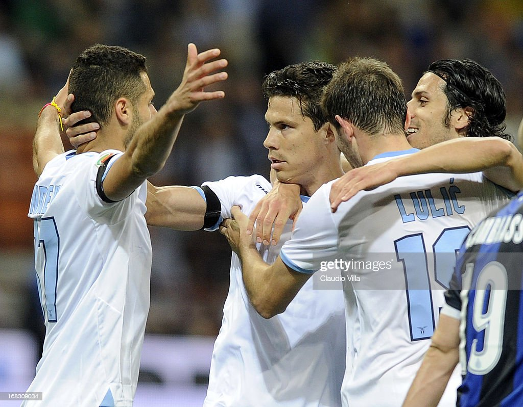 <a gi-track='captionPersonalityLinkClicked' href=/galleries/search?phrase=Hernanes&family=editorial&specificpeople=4522139 ng-click='$event.stopPropagation()'>Hernanes</a> of S.S. Lazio (C) celebrates scoring the second goal during the Serie A match between FC Internazionale Milano and S.S. Lazio at San Siro Stadium on May 8, 2013 in Milan, Italy.