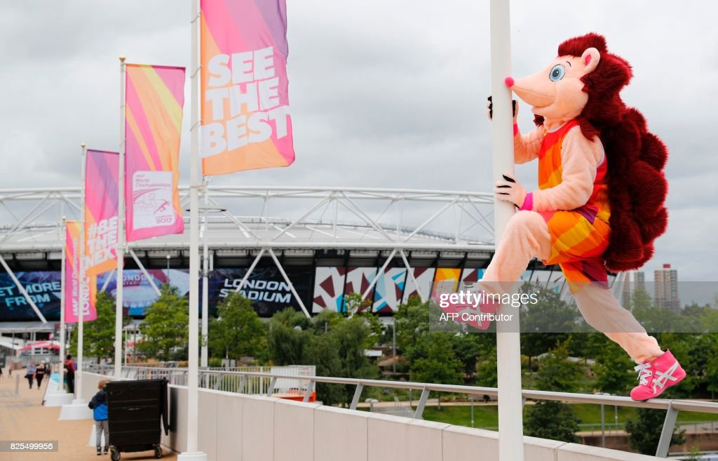 Hero the Hedgehog, the official mascot for the IAAF World Championships London 2017, poses for a photograph outside the London Stadium, at the Queen Elizabeth Olympic Park in Stratford, east London, on August 2, 2017, ahead of the IAAF World Championships London 2017. Usain Bolt's decision to call time on his glittering career will dominate the IAAF World Championships in London that starts Friday. The Jamaican sprinter, an eight-time Olympic gold medallist with 11 world golds to his name and world record holder in the 100 and 200m, will race just the 100m and 4x100m relay in the British capital. / AFP PHOTO / Adrian DENNIS