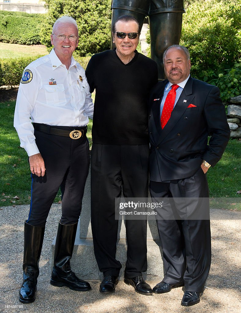 Hero Thrill Show president and CEO James ÒJimmyÓ Binns, actor Chazz Palminteri and The 2013 Grand Marshall Richard 'Bo' Dietl attend 2013 Thrill Show photocall at the Rocky statue at the Philadelphia Museum of Art on September 21, 2013 in Philadelphia, Pennsylvania.