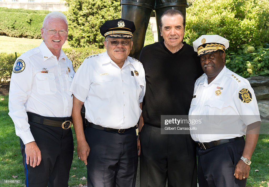 Hero Thrill Show president and CEO James ÒJimmyÓ Binns, Philadelphia Police Commissioner Charles Ramsey, actor Chazz Palminteri and Philadelphia Fire Commissioner Lloyd Ayers attend 2013 Thrill Show photocall at the Rocky statue at the Philadelphia Museum of Art on September 21, 2013 in Philadelphia, Pennsylvania.