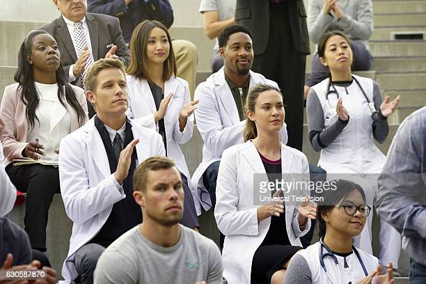 GENIUS 'Hero Worship' Episode 110 Pictured Ward Horton as Dr Scott Strauss Brenda Song as Angie Cheng Aaron Jennings as Dr Malik Verlaine Odette...