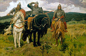 Heroes 18811898 Oil on canvas 446 x 2953 cm Tretyakov Gallery Moscow Russia Depicts the three epic heroes or knights of Russian legend Ilya Muromets...
