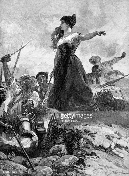 Heroism of the Maid of Saragossa / Zaragoza Spain by W H Overend Agustina Raimunda María Saragossa Doménech a local woman came to feed the Spanish...