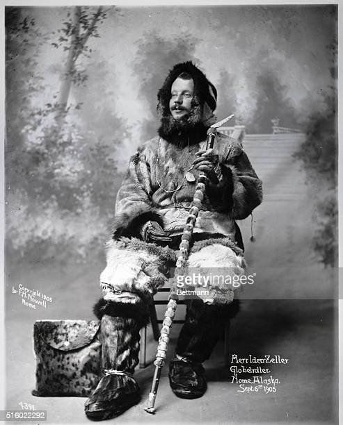 Herr IdenZeller an Arctic explorer poses in his furs and snow gear at Nome Alaska in 1905