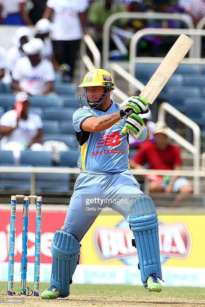 Herschelle Gibbs cuts during the Eighteenth Match of the Cricket Caribbean Premier League between St. Lucia Zouks v Trinidad and Tobago Red Steel at Sabina Park on August 17, 2013 in Kingston, Jamaica.