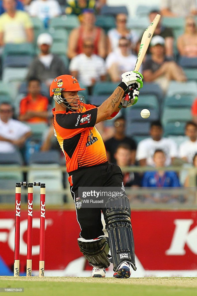 <a gi-track='captionPersonalityLinkClicked' href=/galleries/search?phrase=Herschelle+Gibbs&family=editorial&specificpeople=193820 ng-click='$event.stopPropagation()'>Herschelle Gibbs</a> hits the ball during the Big Bash League match between the Perth Scorchers and Adelaide Strikers at WACA on December 9, 2012 in Perth, Australia.