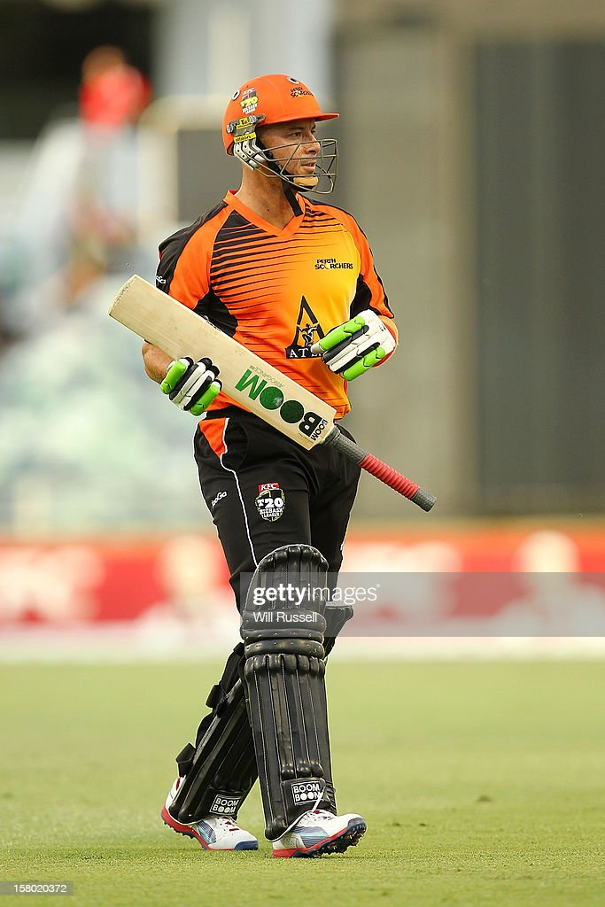 Herschelle Gibbs leaves the field after being caught out by Kane Richardson during the Big Bash League match between the Perth Scorchers and Adelaide Strikers at WACA on December 9, 2012 in Perth, Australia.