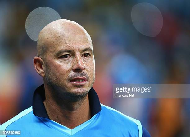 Herschelle Gibbs of Leo Lions looks on after the Oxigen Masters Champions League 2016 match between Capricorn Commanders and Leo Lions at Dubai...